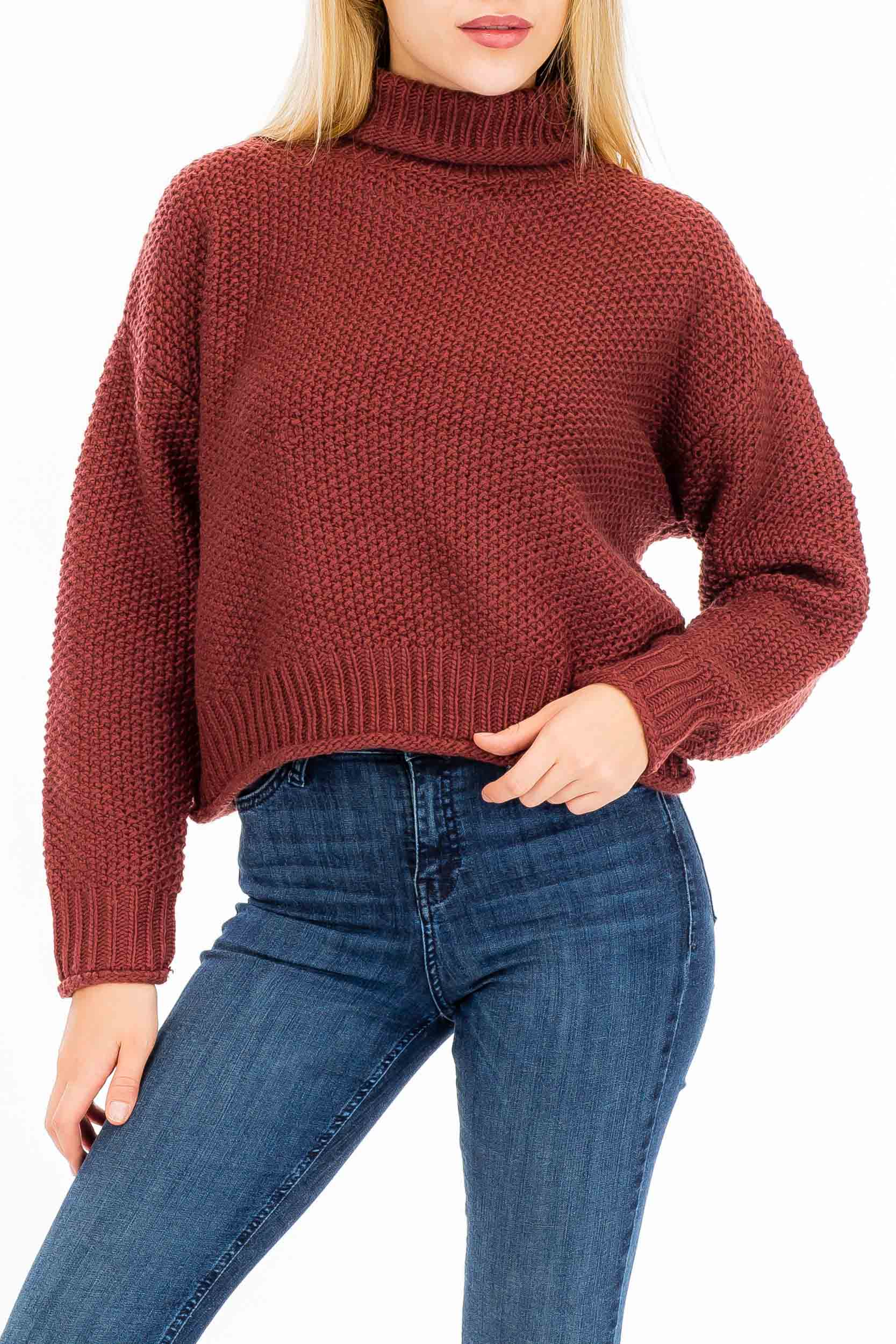 Rolled Hem Tight Knit Semi Crop Turtle Neck Sleeve Sweater