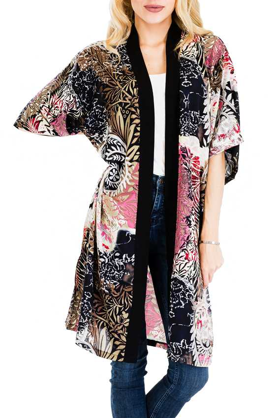 Abstract Tropical Flower and Leaves All-Print Semi Sheer Long Cover Up Kimono with Stripe Lining