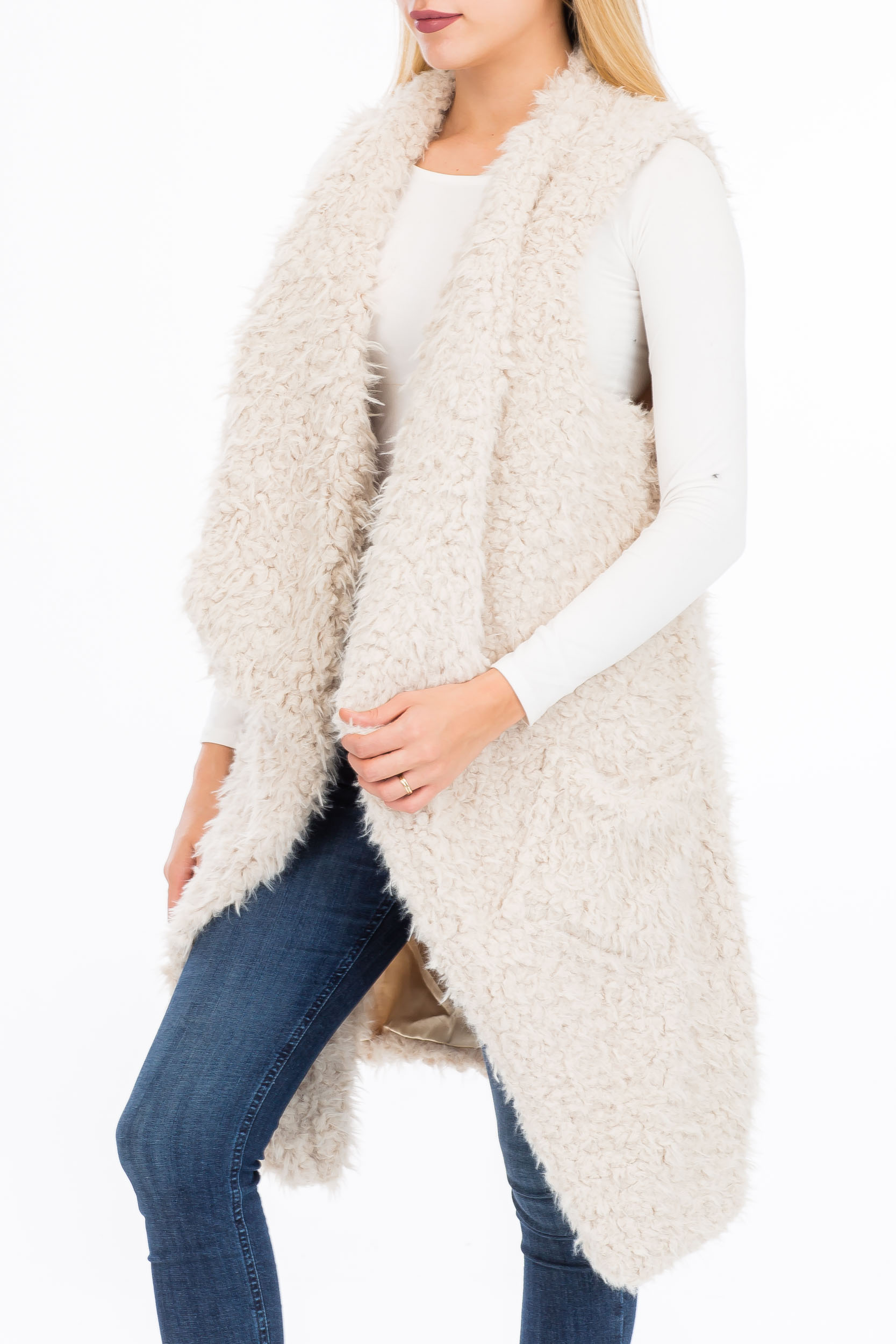 Asymmetrical Long Faux Fur Vest With Double Pockets