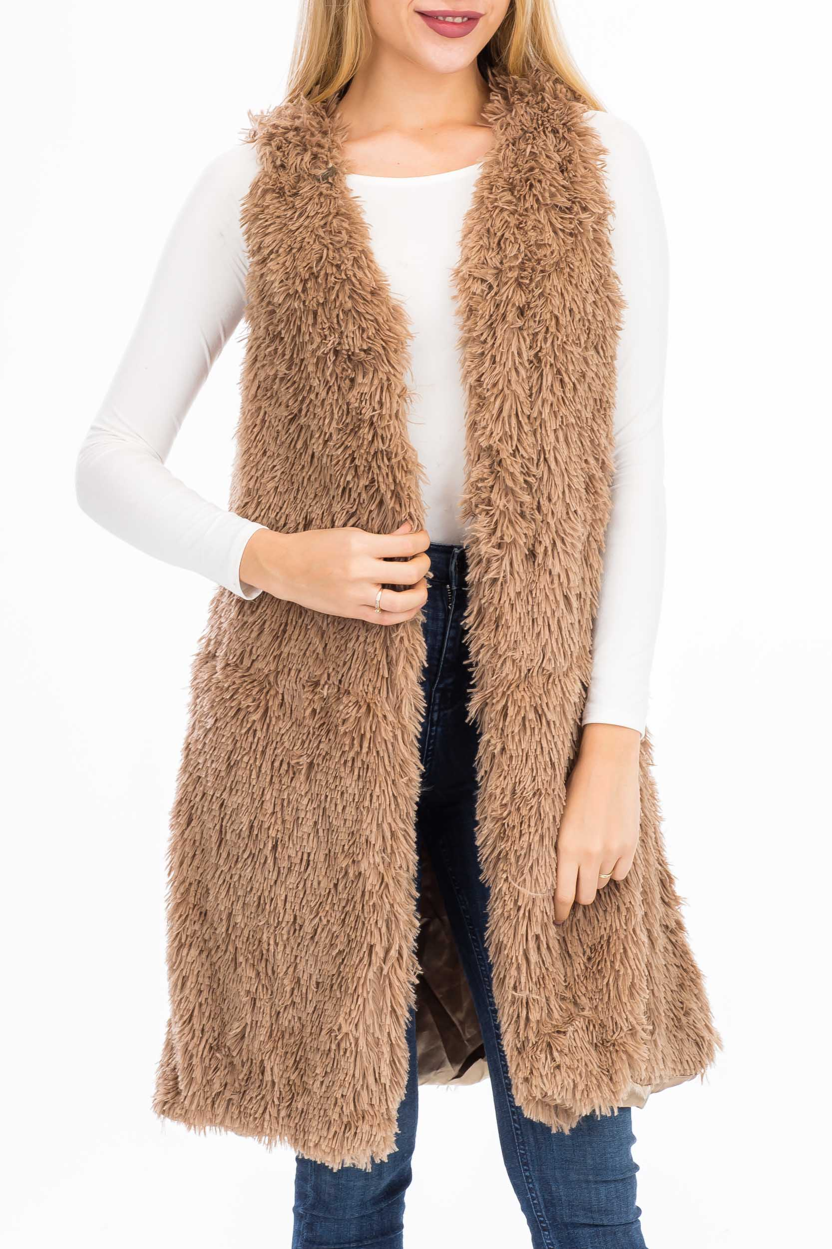 Extra Soft Brushed Fur Long Vest Styled