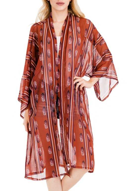 Bohemian Bell Sleeved Sheer Vintage Feather Printed Long Cover Up