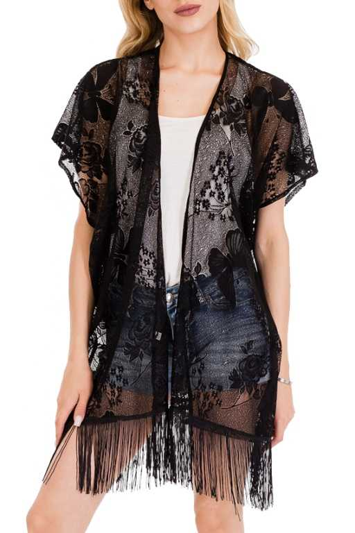 Bundle Of Butterflies and Rose Lace Knit Cover Up Kimono