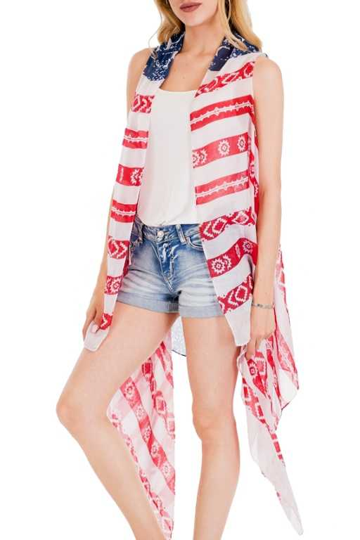 Abstract American Flag Printed Kimono Vest Cover Up