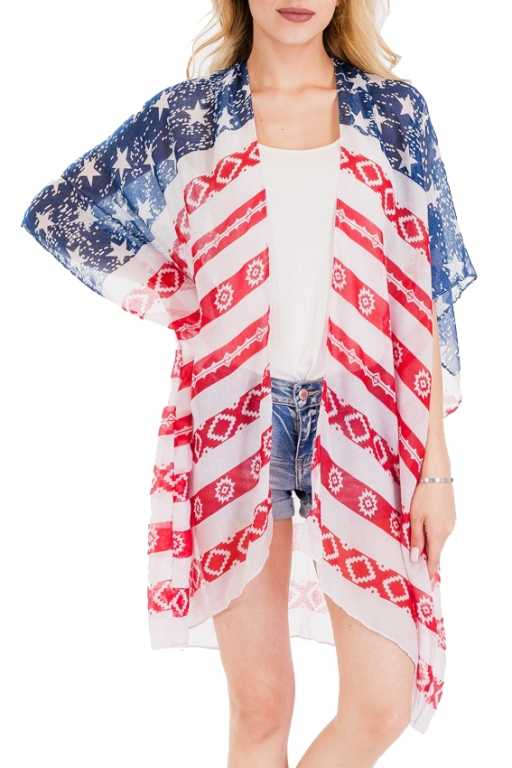 Abstract American Flag Printed Kimono