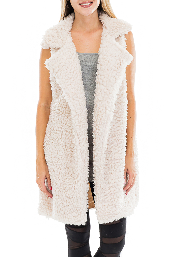 Satin Lined Luxe Goat Fur Semi Length Vest