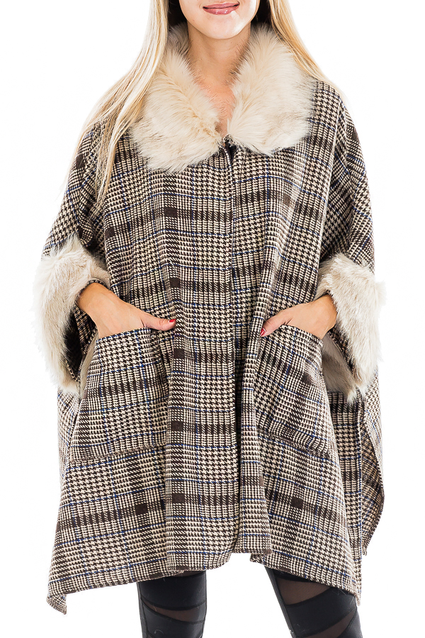 Vintage Fashion Plaid Faux Fur Pocketed Coat