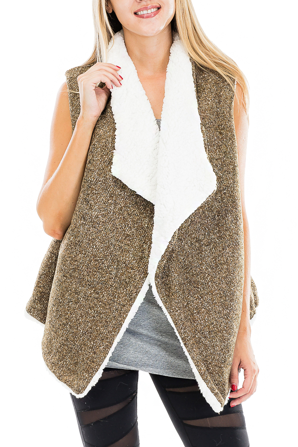 Goat Fur Lined and Collared Herringbone Patterned Vest