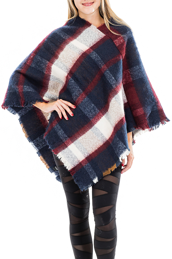 Blanket Cashmere Brushed Plaid V Cut Poncho