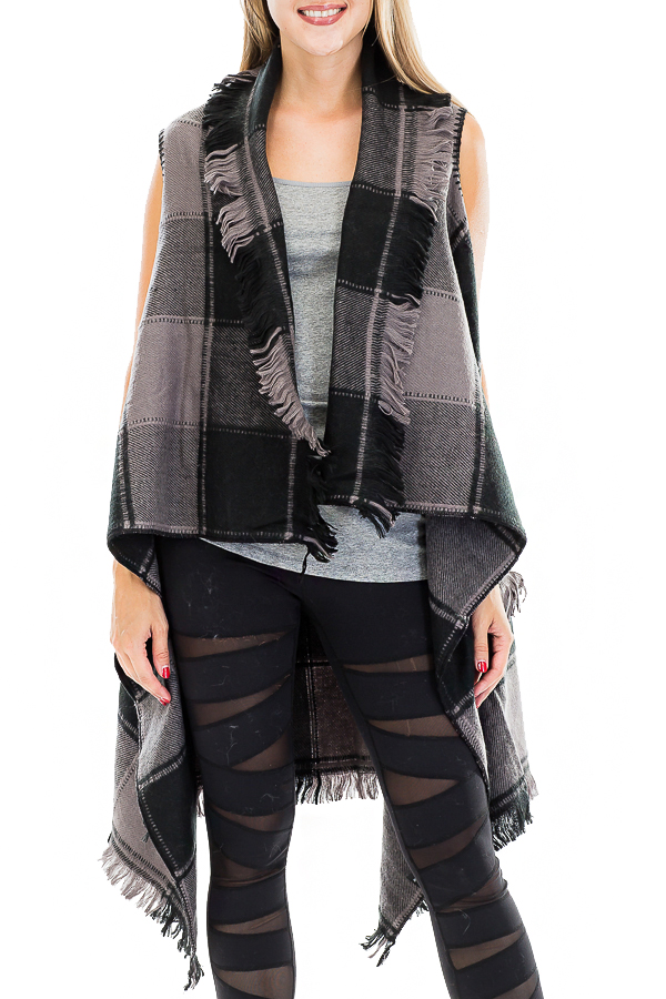 Frayed and Over Sized Long Plaid Vest