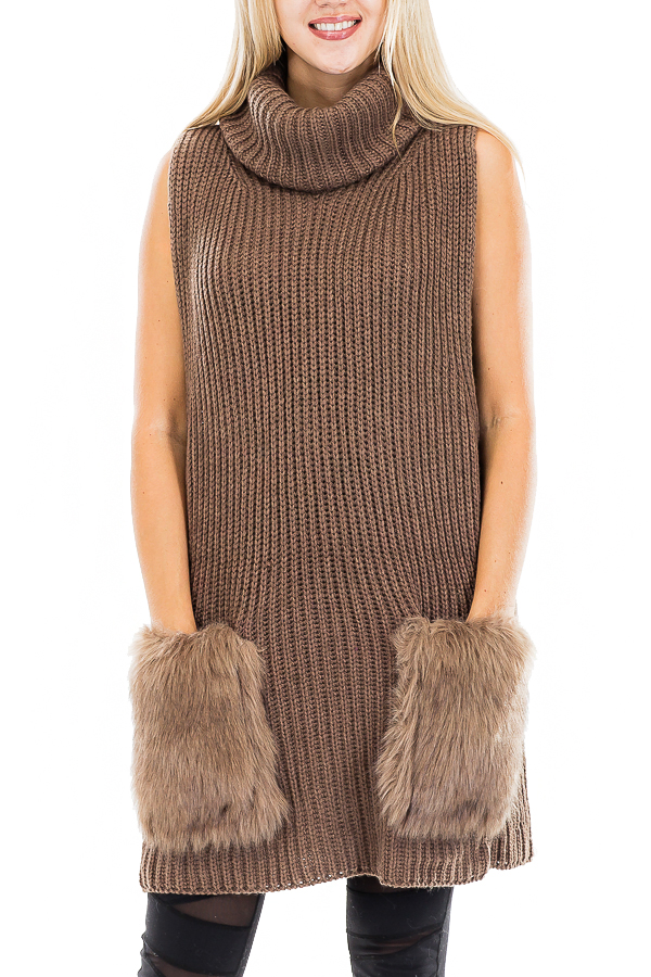Chic Ultra Luxe Faux Fur Pocket Turtleneck Poncho