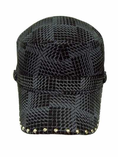 Fashion Mosaic Style Print Cadet Cap With Studded Bill