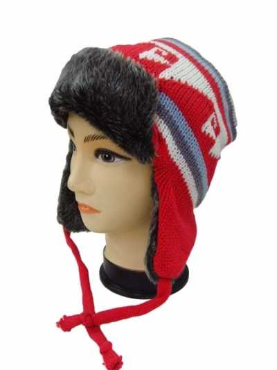Knitted Bomber Hat with string