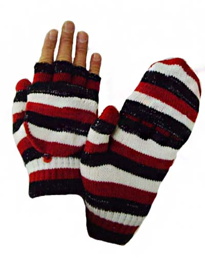 Striped Colorful Mittens have fold able finger cover