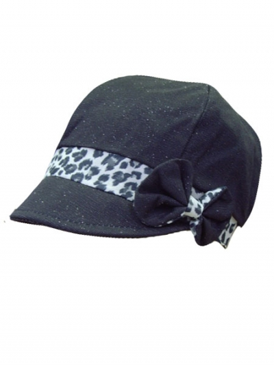 Leopard Ribbon Bow Newsboy Cap