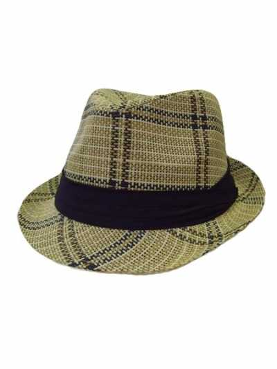 Two Tone Plaid Woven Straw Fedora