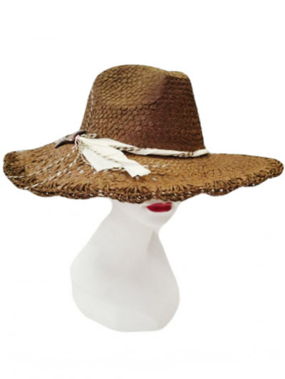 Wood Star Bow Cowboy Style Straw Sun Hat