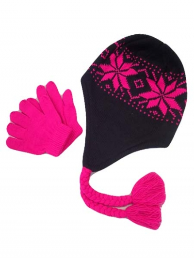 Neon Color Beanie With Gloves junior size