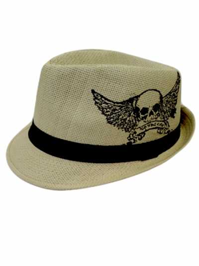 Straw Fedora with Skull Wing Print On the side.