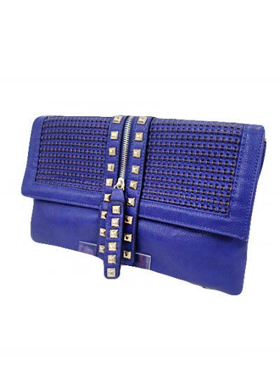 Chain And Clutch Strapped Mesh Texture And Studded Bag