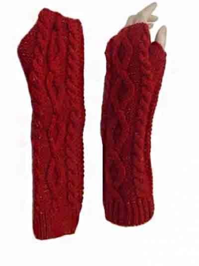 Cable Pattern Knitted shiny threads Arm gloves