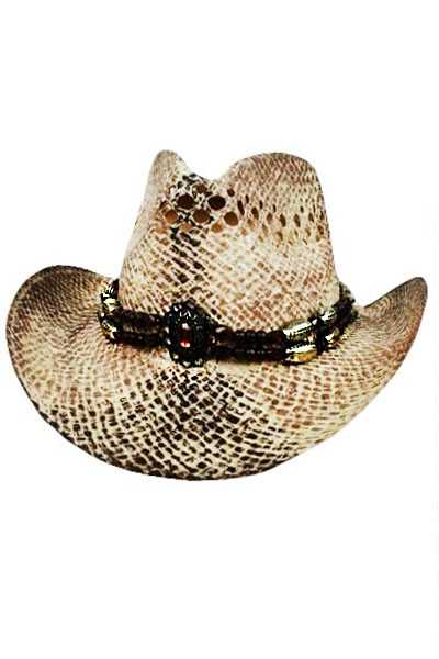 Dark Fancy Beaded With Gold Detail Straw Cowboy Hat