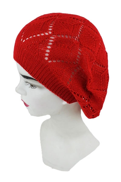 Diamond Cut Out Shape Knit With Overall Rose Design Beret