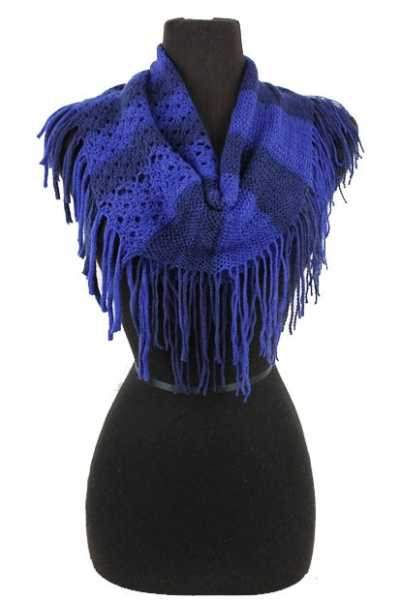 Hole Crochet and Block Striped Knitted with fringe Mini Magic Scarf