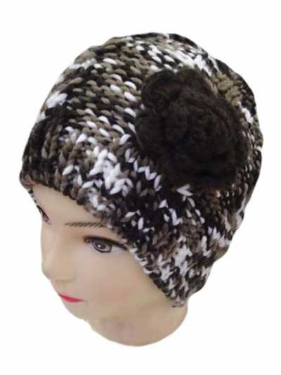 Double Color Hand Made Knitted Beanie With Flower