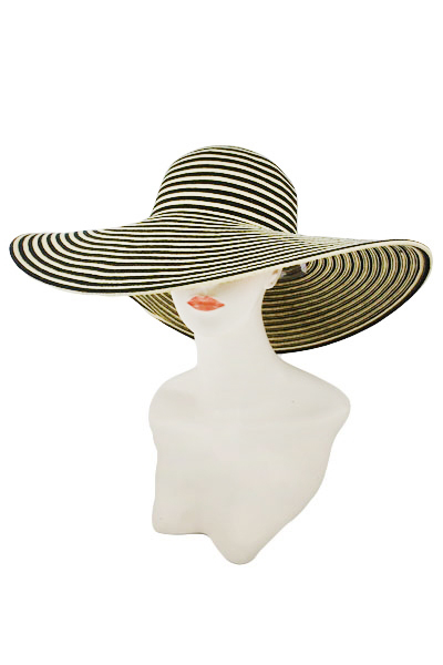 Two Tone All Stripe Beautiful Softness Toyo Straw Sun Hat