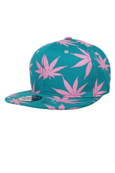 Pink On Pink Marijuana Leaf All Printed Cotton Snap Back