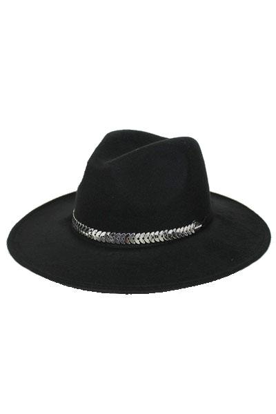 Arrow Head Silver Detailed Band On Flat straight Brimmed Panama Fedora Hat