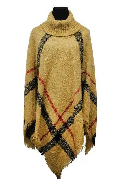 Plaid Pattern Knitted Extra Softness Turtle Neck Poncho
