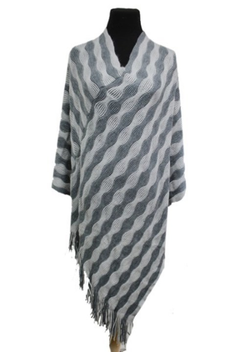 Wave Bubble Pattern Striped Design Two Tone Super Softness Poncho