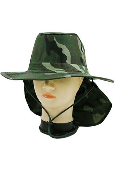 Wide Brim Back Flap Military Printed Boonie Hiking Fishing Hat
