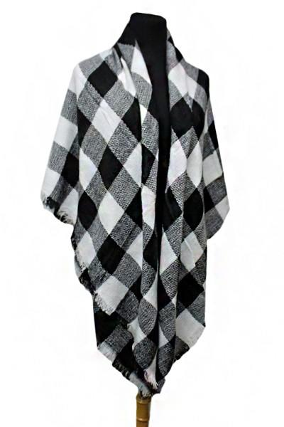 Checkered Pattern Knitted Large Over Sized Blanket Scarf and Shawls