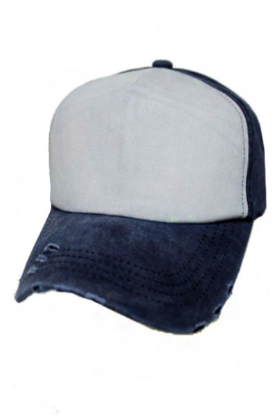 Two Tone Pigment Washed Distressed 5 Panel Strap Back