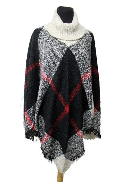 Plaid Pattern Super Softness Turtle Neck Poncho