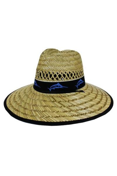 Sword Fish Natural Hay Straw Black Band Outline Outdoor Hat