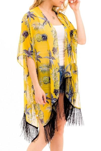 Summer Fun Pineapple Sketch Printed Breezy Chiffon Style Kimono Cover Up