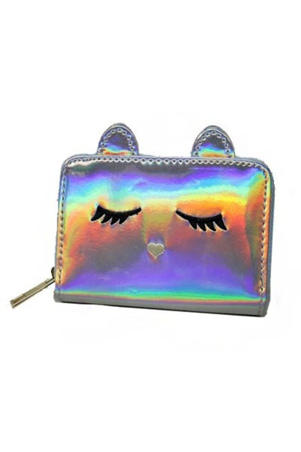 Metallic Reflective Hologram Patent Sleepy Eye Eyelash Zip Up Wallets
