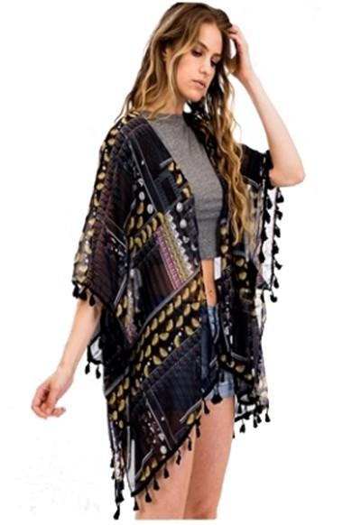Retro Chic Geometric Kimono Cover Up