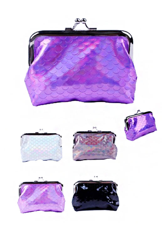 Fish Scale and Hologram Textured Coin Purse with Snap Closure
