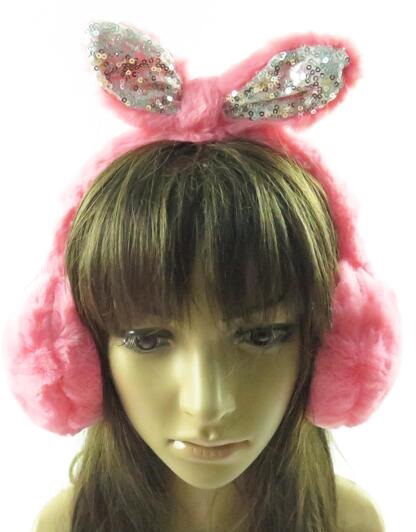Sequins Tied Bunny Eared Faux Fur Ear Muffs