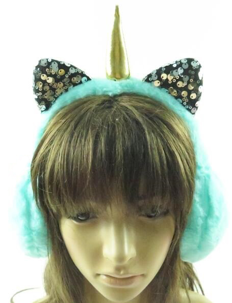 Unicorn Horned and Sequins Eared Faux Fur Ear Muffs