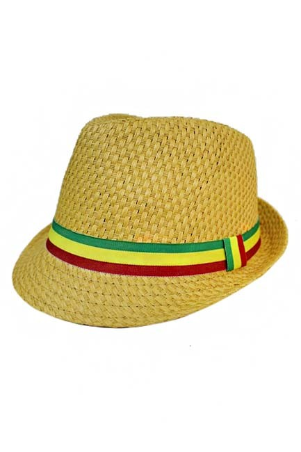 Rasta Colored Stripped Band All Natural straw Fedora