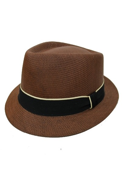 Straight Flat Firm Brimmed With Sleek Black Ribbon Fedora
