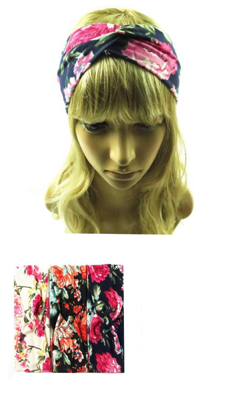 Red Peony Floral Twister Turban Front Headband