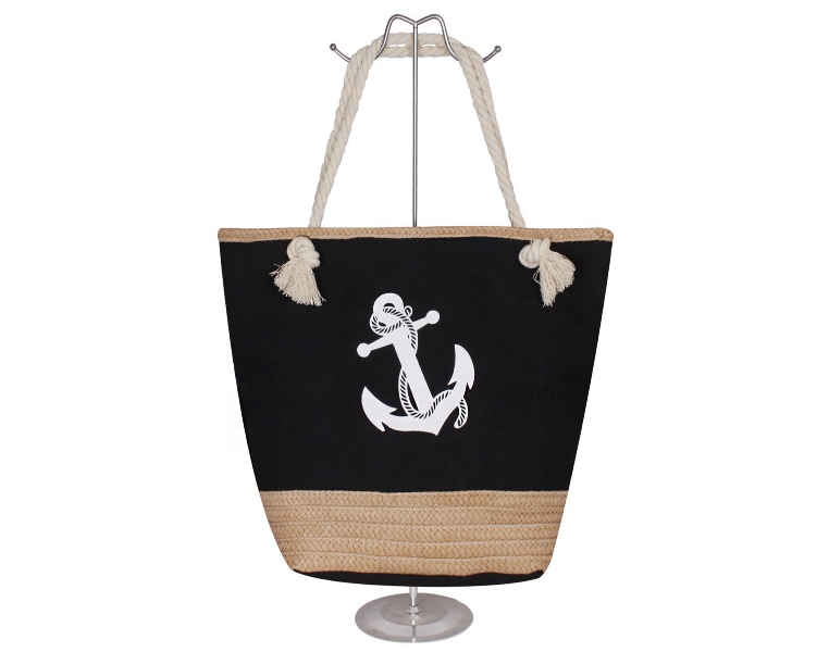 Rounded Sack tote With Classic Ocean Side Anchor Print