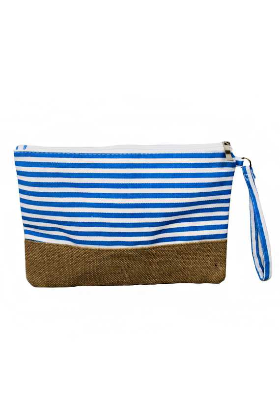 Stripe Printed Natural Burlap Clutch Bag