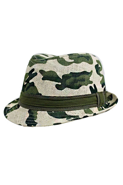 Military design straw fedora